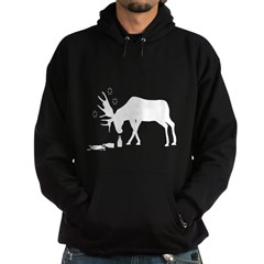 Hoodie (dark) Drunk Moose White from the Metal From Finland Shop