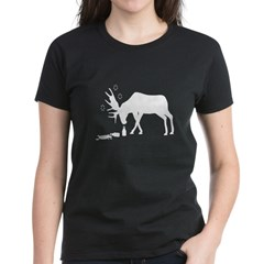 Women's Dark T-Shirt Drunk Moose White from the Metal From Finland Shop