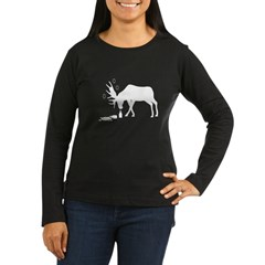 Women's Long Sleeve Dark Drunk Moose White from Metal From Finland Shop