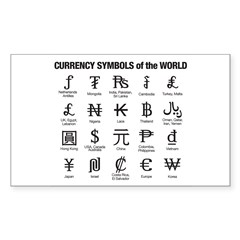 Currency Symbols of the World Sticker (Rectangle)