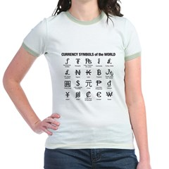Currency Symbols of the World Jr. Ringer T-Shirt