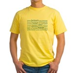 Travel Tag Cloud Yellow T-Shirt