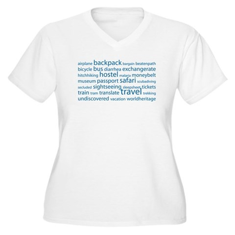 Travel Tag Cloud Women's Plus Size V-Neck T-Shirt
