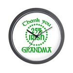 25% Irish - Thank You Grandma Wall Clock