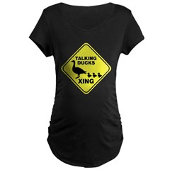 Talking Ducks Crossing Maternity Dark T-Shirt