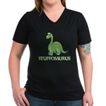 Stuffosaurus Logo Women's V-Neck Dark T-Shirt
