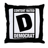 Content Rated Democrat Throw Pillow