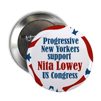 Progressive Democrats Support Nita Lowey for Congress (Congressional Campaign Button for New York's 18th District)