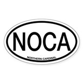 NOCA Northern Cardinal Alpha Code Oval Sticker