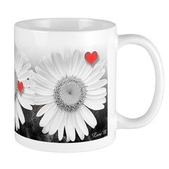 Love, valentine, daisy and hearts, mug, Lore M, art, mother, amour, mères