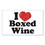 I Heart Boxed Wine Rectangle Sticker