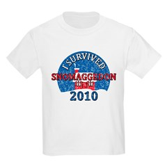 I Survived Snomaggedon Blizzard of 2010 Kids Light T-Shirt