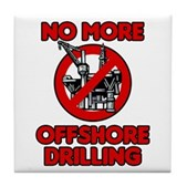 No More Offshore Drilling Tile Coaster