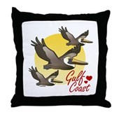 Gulf Coast Pelicans Throw Pillow