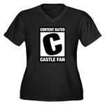 Content Rated C: Castle Fan Women's Plus Size V-Neck Dark T-Shirt