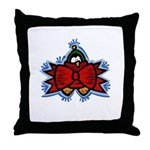 Red Ribbon Penguin Throw Pillow