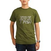 Through Rain or Sleet... I Pish Organic Men's T-Sh