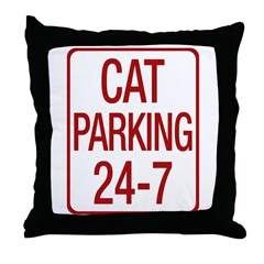 Cat Parking Throw Pillow