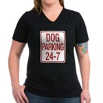 Dog Parking Women's V-Neck Dark T-Shirt