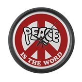 Peace is the word Large Wall Clock