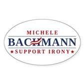Anti-Bachmann Irony Sticker (Oval)