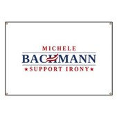 An anti-Michele Bachmann spoof logo design with the slogan Michele Bachmann Support Irony. This original anti-Tea Party anti-Republican spoof logo design includes the toothpaste swirl across the H.