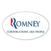 Anti-Romney Corporations Sticker (Oval)