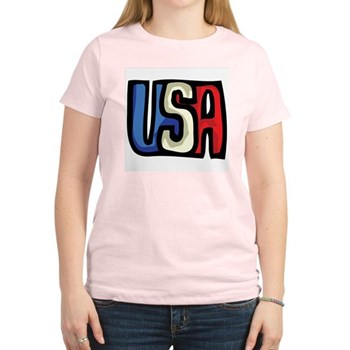 Red, White and Blue USA Women's Light T-Shirt