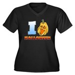 I Love Halloween Women's Plus Size V-Neck Dark T-Shirt