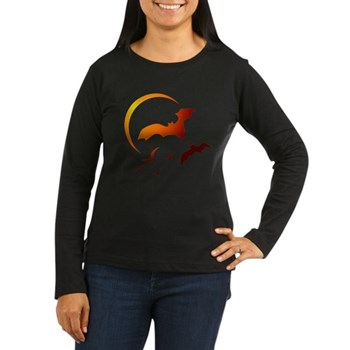 Flying Vampire Bats Women's Long Sleeve Dark T-Shirt