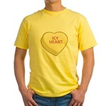 Icy Heart Candy Heart Yellow T-Shirt