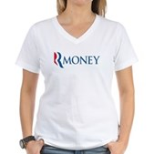 Anti-Romney RMONEY Women's V-Neck T-Shirt