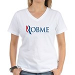 This anti-Romney design is a spoof of the Romney 2012 campaign logo. Instead of the candidate's name, we have the (compound) word ROBME. That's what Mittens wants to do to the middle class: ROB THEM!