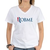 Anti-Romney Robme Women's V-Neck T-Shirt