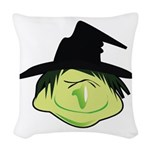 Happy Green Witch Woven Throw Pillow