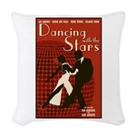 Retro Inspired DWTS Poster Woven Throw Pillow