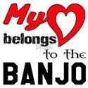 My Heart Belongs To The Banjo White T-Shirt