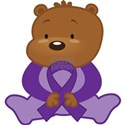 Purple Awareness Bear White T-Shirt