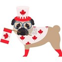 Canada Day Pug with Flag White T-Shirt