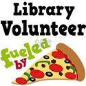Library Volunteer Fueled By Pizza White T-Shirt