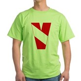 Scuba Flag Letter V Green T-Shirt