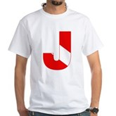 Scuba Flag Letter J White T-Shirt