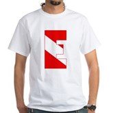 Scuba Flag Letter E White T-Shirt