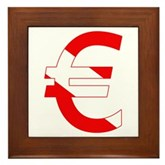 Scuba Flag Euro Sign Framed Tile