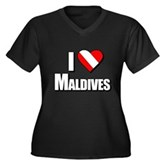 Scuba: I Love Maldives Women's Plus Size V-Neck Da