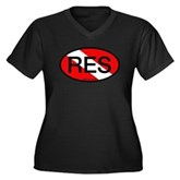 RES Oval Scuba Flag Women's Plus Size V-Neck Dark