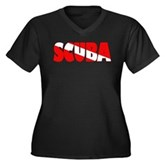 Scuba Text Flag Women's Plus Size V-Neck Dark T-Sh
